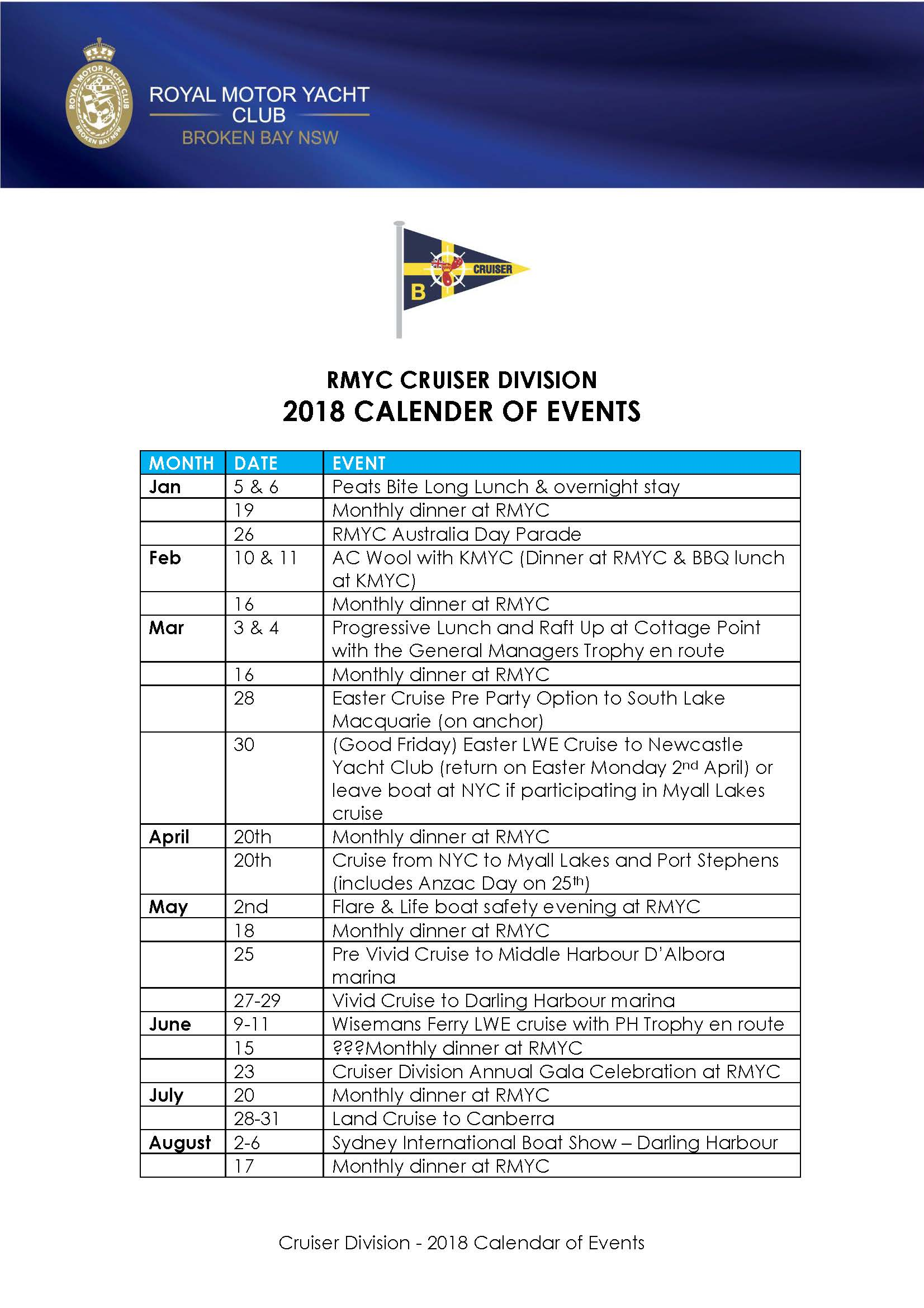 2018 calender of events Page 1