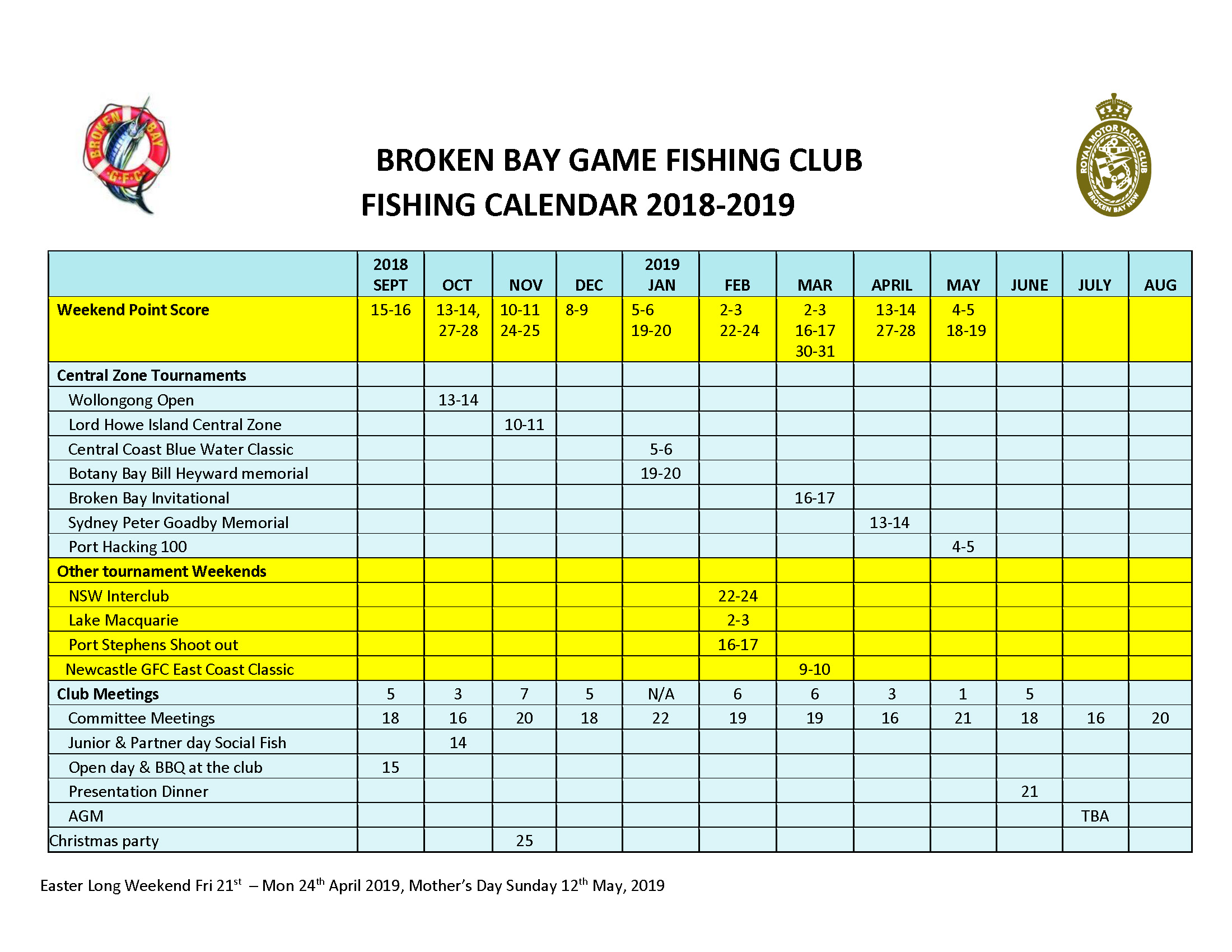 BBGFC Fishing Calendar 2018 2019 incl NGFC