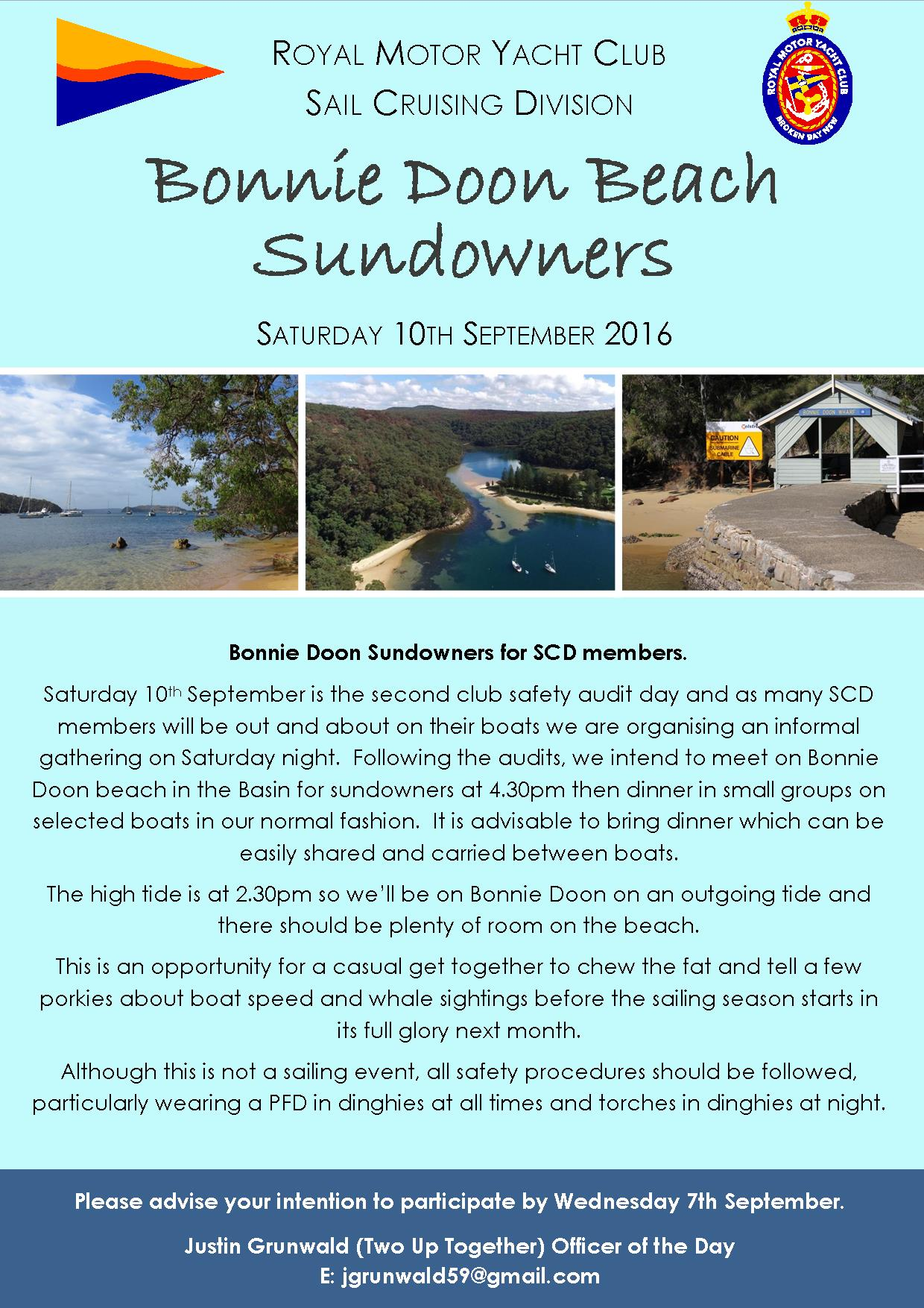 Safety audits Bonnie Doon Beach Sundowners 10th September 2016