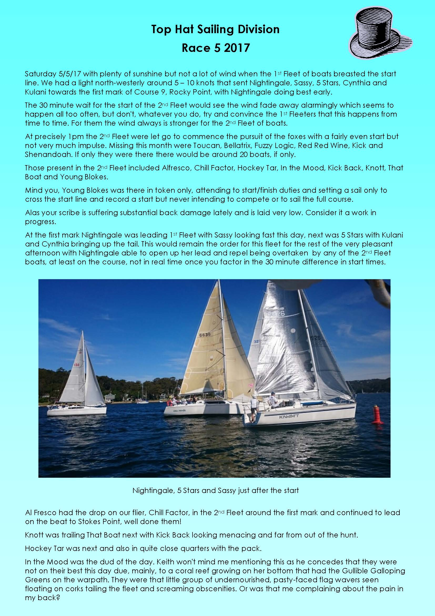 Top Hat Sailing Race 5 060517 Page 1