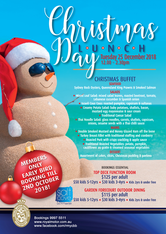 CHRISTMAS DAY - EARLY BIRD MEMBER BOOKINGS